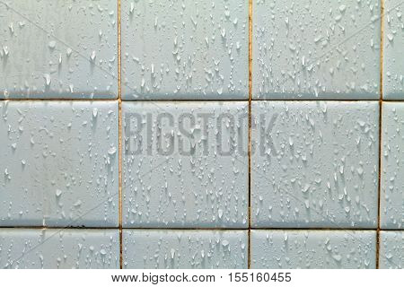 Water drop on ceramic tile wall background