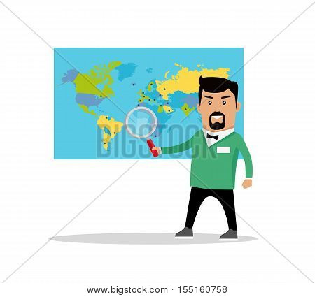 Man with loupe standing near the world political map. Flat design. Information searching concept vector illustration. Global politics, breaking news, climate change, concept. On white background.