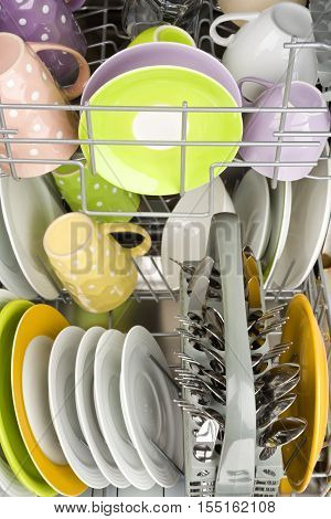 Background of clean dishes in dishwashing machine front view