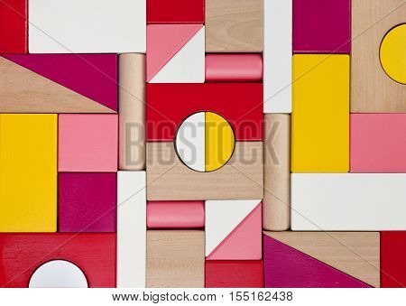 Background of multicolor wooden children toy blocks