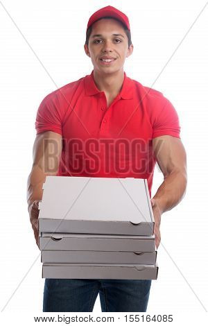 Pizza Delivery Man Order Delivering Job Young Isolated