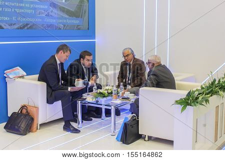St. Petersburg, Russia - 4 October, Business people in a recreation area on the forum, 4 October, 2016. Petersburg Gas Forum which takes place in Expoforum.