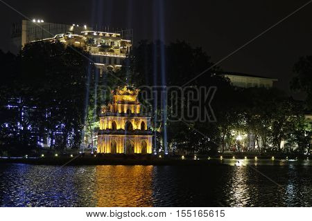 Hanoi, Vietnam, Octobre 23, 2016 : Turtle Tower On Hoan Kiem Lake In Hanoi Old Quarter At Night. Han