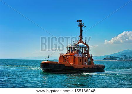 Genova, Italy - September 25, 2016: Fire boat in port Genova, Pegli  Genova Ligure Italy