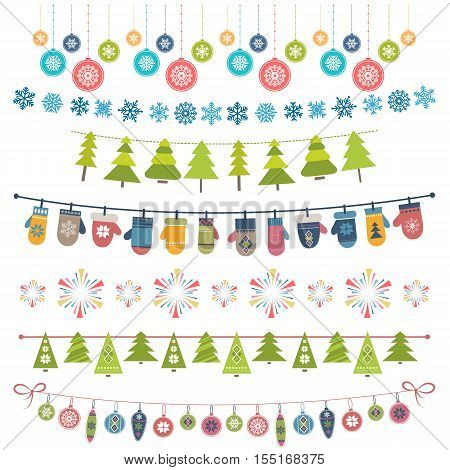 Christmas flags bunting and garland set isolated on white