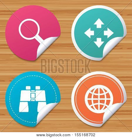 Round stickers or website banners. Magnifier glass and globe search icons. Fullscreen arrows and binocular search sign symbols. Circle badges with bended corner. Vector