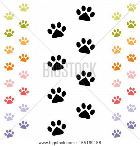black and colorful animal footprints isolated on white