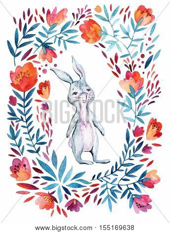 Watercolor cute cartoon bunny ornate flowers wreath. Forest animal and detailed flowers petals leaves natural elements - flourish circle background. Hand painted illustration for childish design