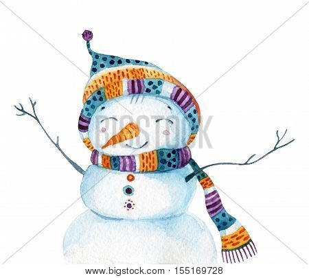 Watercolor cartoon snowman in childish style isolated on white background. Snowman with cheerful smile. Hand painted illustration can be used for christmas new year winter design