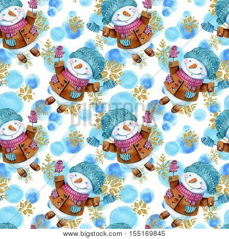 Watercolor cartoon snowman in childish style background. Snowman with cheerful smile among falling snowflakes seamless pattern. Hand painted winter season illustration for christmas new year design