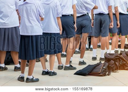 Thailand secondary education students are standing in line in the morning with uniform