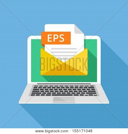 Laptop with envelope and EPS file. Notebook and email, file attachment EPS document. Trendy graphic elements for websites, web banners, mobile app. Modern long shadow flat design. Vector illustration