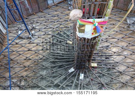 steel bars for reinforced concrete column with reinforcement in construction site