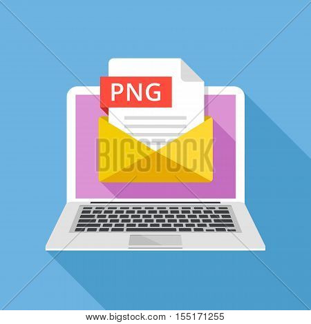 Laptop with envelope and PNG file. Notebook and email with file attachment PNG image. Trendy graphic elements for websites, web banners, mobile app. Modern long shadow flat design. Vector illustration poster
