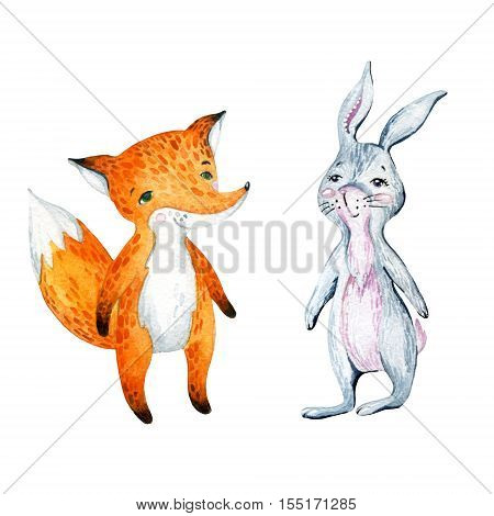 Watercolor cute cartoon bunny and fox isolated on white background. Forest animals friendship. Hand painted illustration for childish design