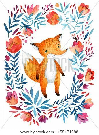 Watercolor cute childish fox ornate flowers wreath. Forest animal and detailed flowers petals leaves natural elements - flourish circle background. Hand painted illustration for childlike design