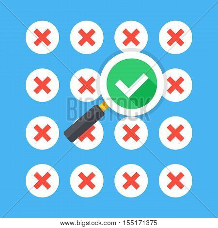 Magnifying glass with tick checkmark icon and lot of red crosses icons. Creative flat design vector illustration