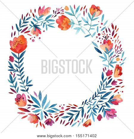Watercolor cute ornate wreath with detailed flowers leaves petals natural elements. Watercolour flourish circle background. Decorative natural wreath. Hand painted illustration for floral design