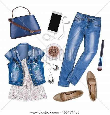 Composition of female summer clothes and accessories isolated on white