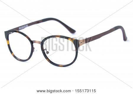 Modern fashionable spectacles isolated on white background Perfect reflection Glasses