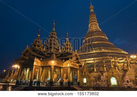 Shwedagon pagoda in the evening, Yangon, Myanmar
