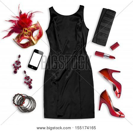 Fashion women accessories of carnival costume isolated on white