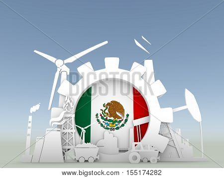 Energy and Power icons set with Mexico flag. Sustainable energy generation and heavy industry. 3D rendering