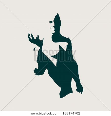 Muscular man presenting invisible product. Open palm hand gesture of male hand. An empty hand of a bodybuilder