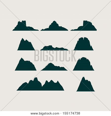 Mountain vector icons set. Set of mountain silhouette elements. Outdoor icon of the mountain tops, decorative symbols isolated. Camping mountain logo, travel labels, climbing or hiking badges.