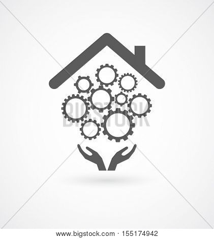 hands support gears mechanism under roof - business conceptual icon