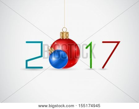new year 2017 design background with christmas ball icon