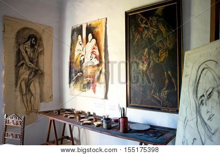 Crete Greece - June 15 2006: The Museum in the El Greco birthplace in the Fodele village