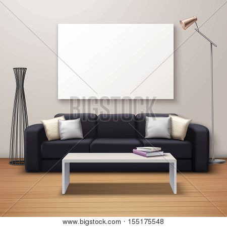 Modern interior design realistic mockup poster with sofa coffee table whiteboard and decorative floor vase vector illustration