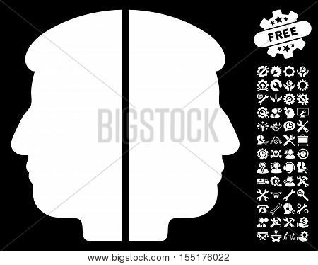 Dual Face pictograph with bonus service pictograms. Vector illustration style is flat iconic symbols on white background.