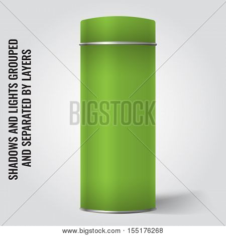 Light green Blank Tin can packaging mockup. Tea coffee dry products gift box. Place your design over the box.