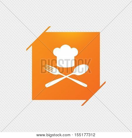Chef hat sign icon. Cooking symbol. Cooks hat with fork and spoon. Orange square label on pattern. Vector