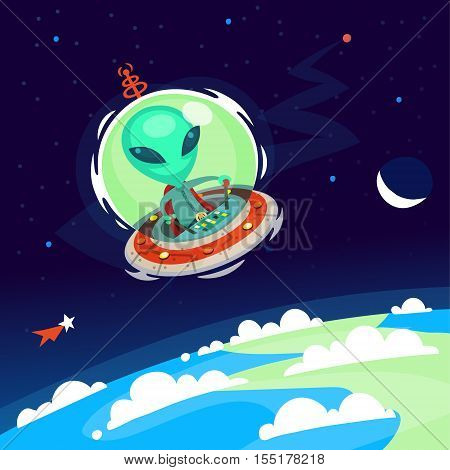 Colorful little green alien with big head flying his spaceship in Earth atmosphere. Vector cartoon alien on a space background.