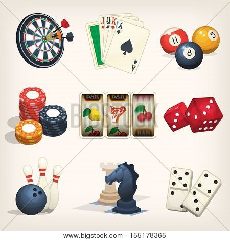 Games equipment icons for leasure games casino and bar sports.