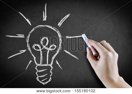 Hand drawing a light bulb on blackboard