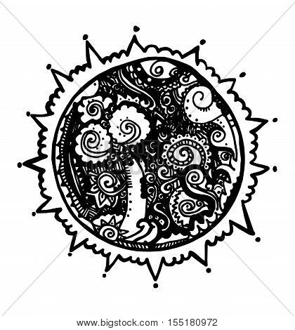 Line art hand drawn set of Space cartoon doodle round composition surrealistic planet Black and white circle ornament perforated design