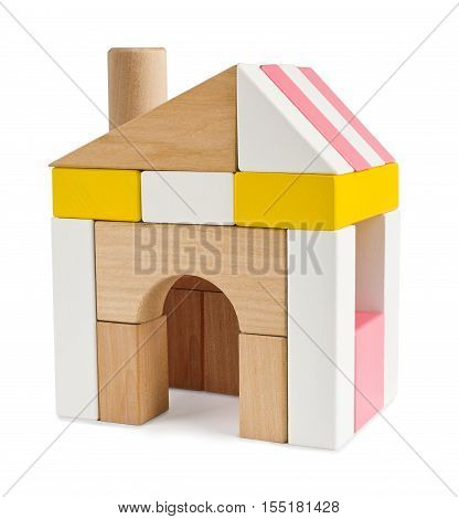 House from toy building blocks isolated on white
