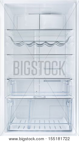 Interior of an open empty white fridge