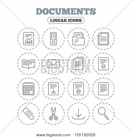 Documents linear icons. Accounting, book and calendar symbols. Paper clip, scissors and download arrow thin outline signs. Mail envelope and file chart. Round flat buttons with linear icons. Vector