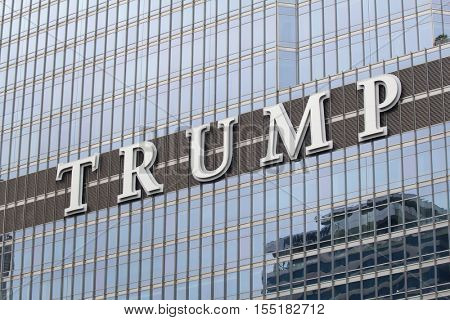 Chicago, IL, USA - September 23, 2016: Facade of the Trump Tower in Downtown Chicago