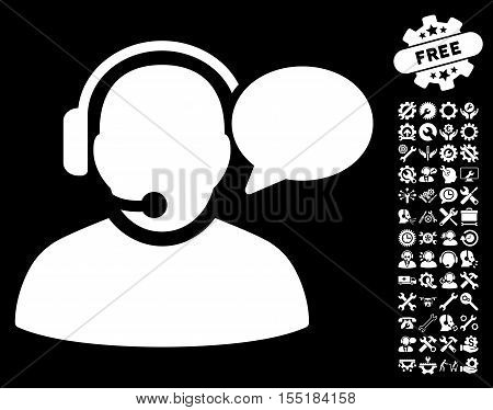 Operator Message pictograph with bonus configuration pictograms. Vector illustration style is flat iconic white symbols on black background.