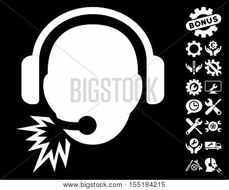 Operator Message pictograph with bonus options design elements. Vector illustration style is flat iconic white symbols on black background.