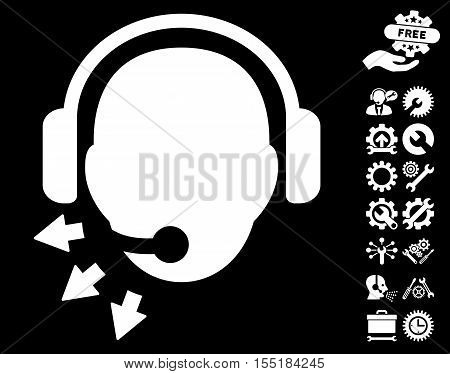 Operator Message pictograph with bonus setup tools design elements. Vector illustration style is flat iconic white symbols on black background.