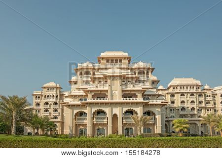 DUBAI, UAE - OCTOBER 11, 2016: A hotel front, Kempinski, on the Palm Jumeirah Island on the Crescent.  The Palm Jumeirah is an artificial archipelago created using reclaimed land