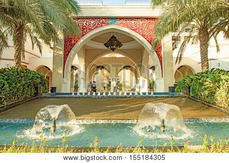 DUBAI, UAE - OCTOBER 11, 2016: A hotel front, Zabeel Saray, on the Palm Jumeirah Island on the Crescent.  The Palm Jumeirah is an artificial archipelago created using reclaimed land