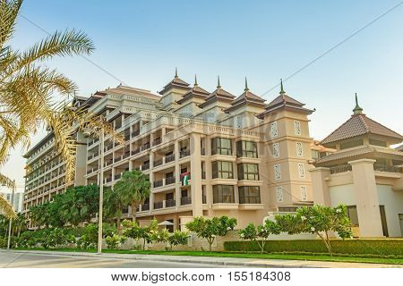 DUBAI, UAE - OCTOBER 11, 2016: A hotel front, Anantara, on the Palm Jumeirah Island on the Crescent.  The Palm Jumeirah is an artificial archipelago created using reclaimed land